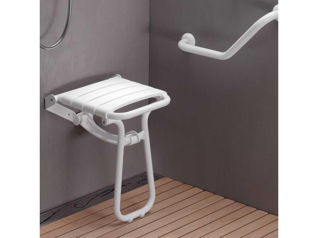 si ge de douche escamotable 380 x 355 x 500 mm assise polypropyl ne blanc pieds aluminium. Black Bedroom Furniture Sets. Home Design Ideas