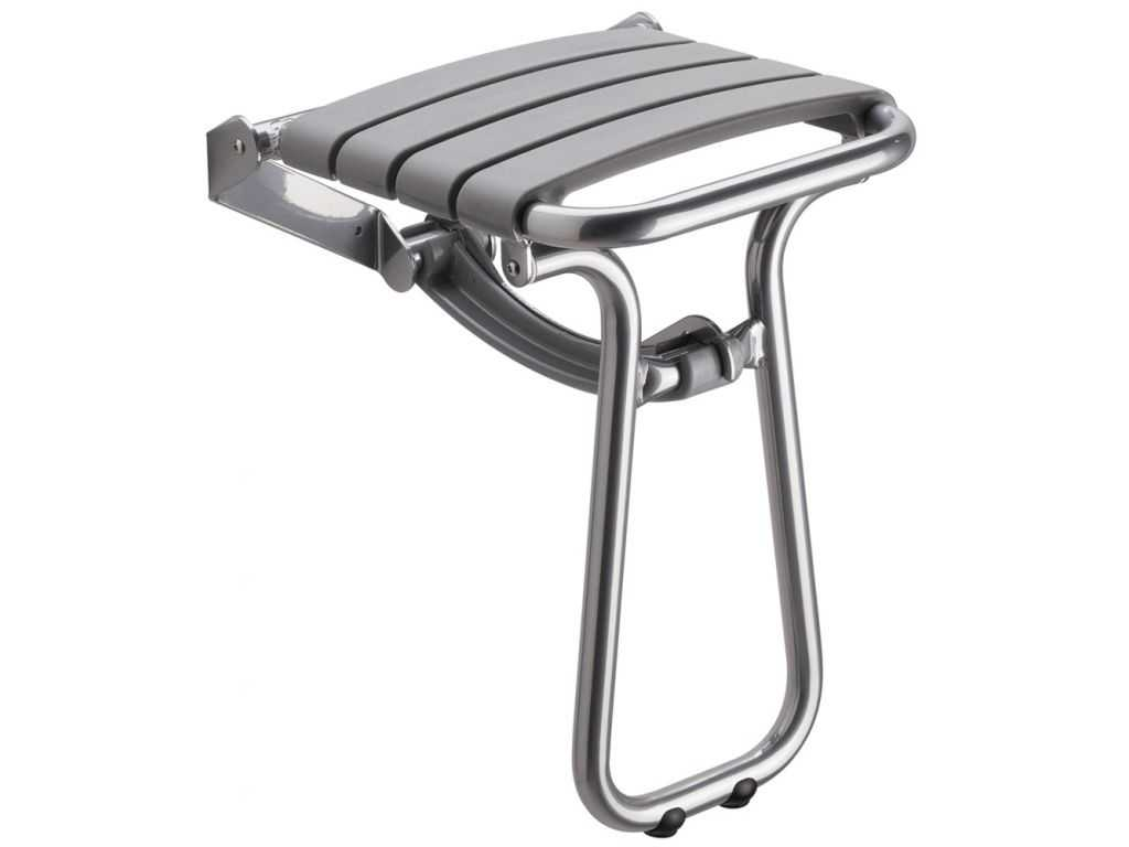 si ge de douche escamotable 380 x 355 x 500 mm assise polypropyl ne gris pieds aluminium