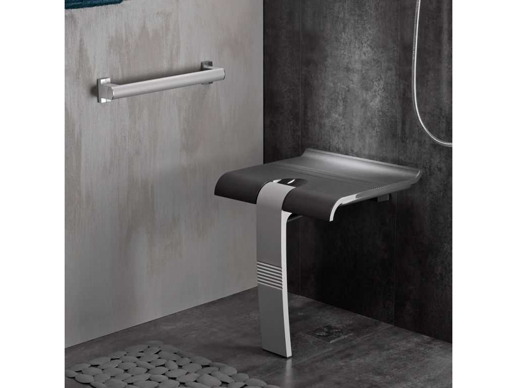 Si ge de douche design15 tablette gris anthracite for Siege douche mural