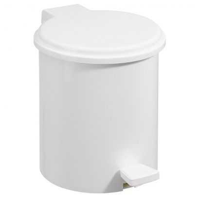 3 Litre Pedal bin, White ABS, 200 x 255 mm, Ø 200 mm