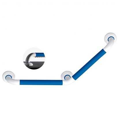 Barre coudée 135° Ergosoft, 260 x 260 mm, Polyalu Blanc & Bleu, Ø 33 mm