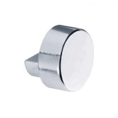 Agrafe pour miroir taquet cabochon, 8 x 11 x 14 mm, Laiton Nickelé Chromé, Ø 18 mm