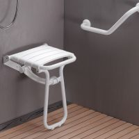 Siège de douche escamotable, 380 x 355 x 500 mm,Assise Polypropylène Blanc & Pieds Aluminium Epoxy Blanc, Ø 25 mm