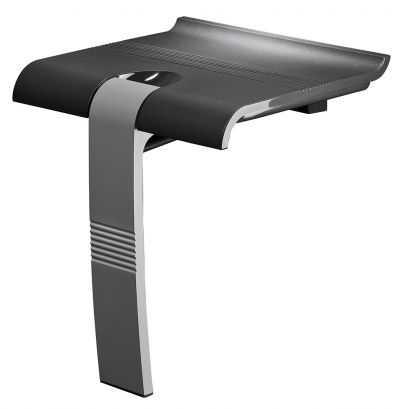 Siège de douche Design15, 442 x 450 x 500 mm, Assise ABS Gris anthracite & Pieds Aluminium Chromé, Ø 25 mm