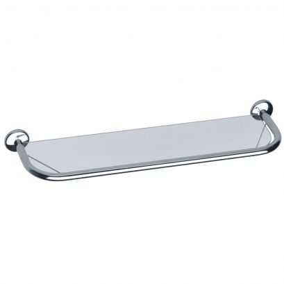 Vanity shelf in SECURIT safety glass, Chrome-plated Steel, 568 mm
