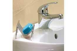 Porte-savon, 130 x 80 x 60 mm, Acier Chromé, Ø 5 mm