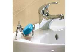 Wall mounted soap basket, Chrome-plated Steel, 130 x 80 x 60 mm, Ø 5 mm