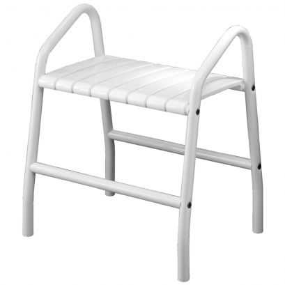 Shower bench with 2 handles, White Epoxy-coated seat and white Epoxy-coated base, 425 x 554 x 650 mm, Ø 30 mm