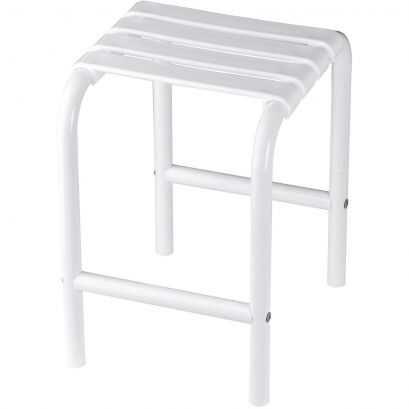 Shower stool, White polypropylene seat and white Epoxy-coated base, 335 x 385 x 485 mm, Ø 30 mm