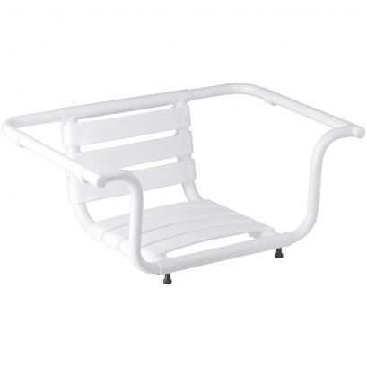 Siège de baignoire, 420 x 890 x 260 mm, Aluminium Epoxy Blanc, Ø 30 mm